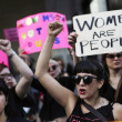 Women take part in a protest against Republican presidential candidate Donald Trump in Chicago